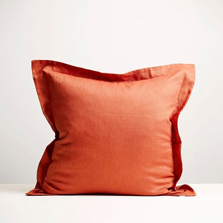THREAD DESIGN Linen European Pillowcase -Brick