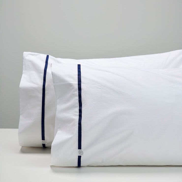 THREAD DESIGN Tape Pillowcases -Navy