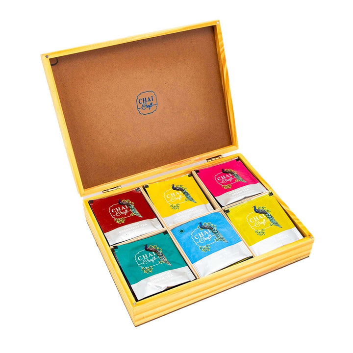 Boxful of Rejuvenation, An Assortment of 30 Tea Bags in a Pine and Jute Gift Box