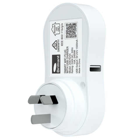 SMART WIFI WALL PLUG WITH USB CHARGER - WHITE
