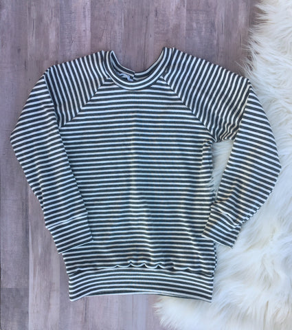 5T Charcoal Gray Stripes Pullover