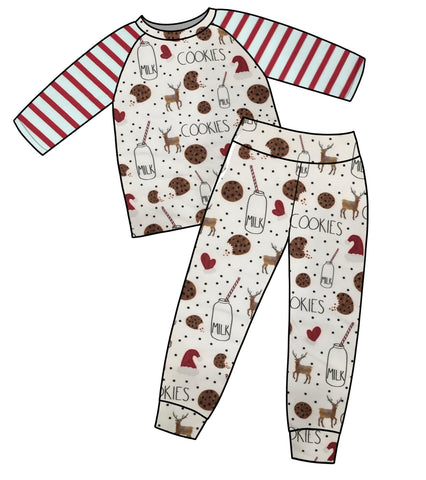 Red Striped Shirt Milk & Cookies Jammies BUNDLE