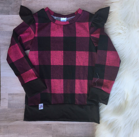3T Plaid Flutter Sleeve Pullover