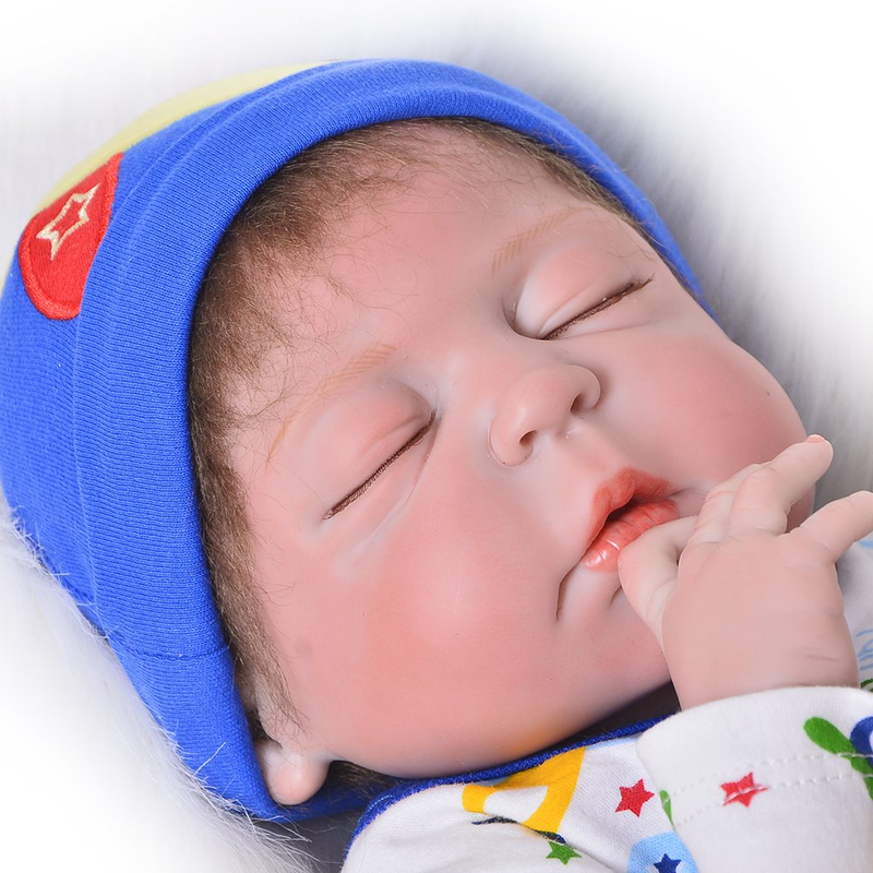 Sleeping 23 Inch Reborn Baby Dolls Full Silicone Vinyl Realistic Boys Doll Reborns Lifelike Newborn Boy Toy Kids Birthday Gift