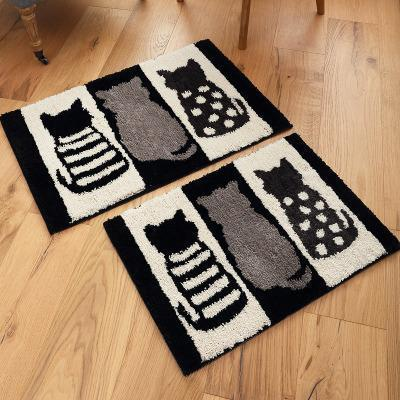 Black-white Door Mat Absorbent Carpet Non-slip Rug Home Decor