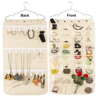 40 Pockets 20 Hooks Oxford Hanging Jewelry Organizer with Zipper Hanger (Pockets & Hooks )