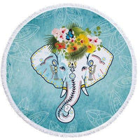 Elephant Pattern Round Beach Towel Tapestry Shawl With Tassels