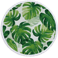 Leaves Pattern Round Beach Towel With Tassels Home Decor
