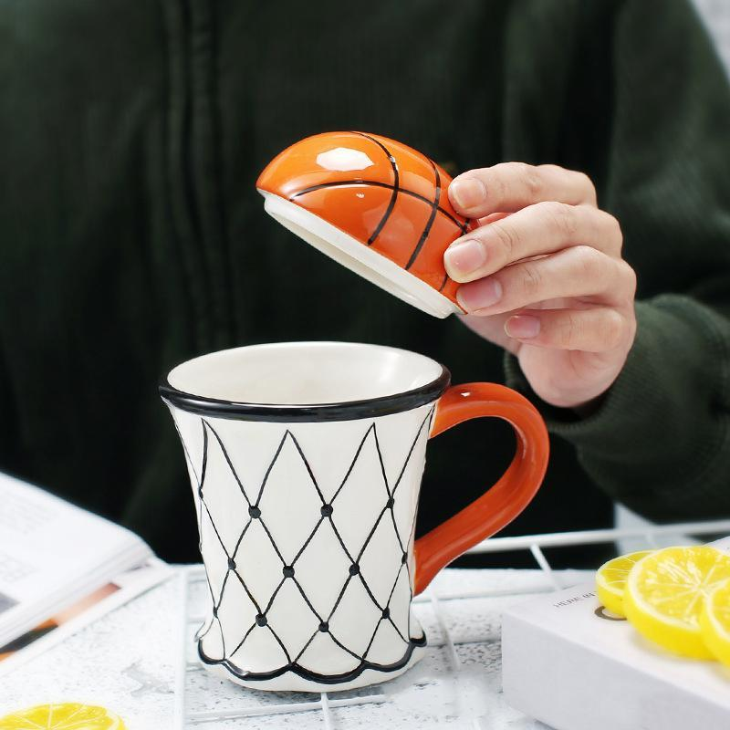 Creative Basketball Soccer Milk Coffee Cup Cartoon Mug With A Hoop