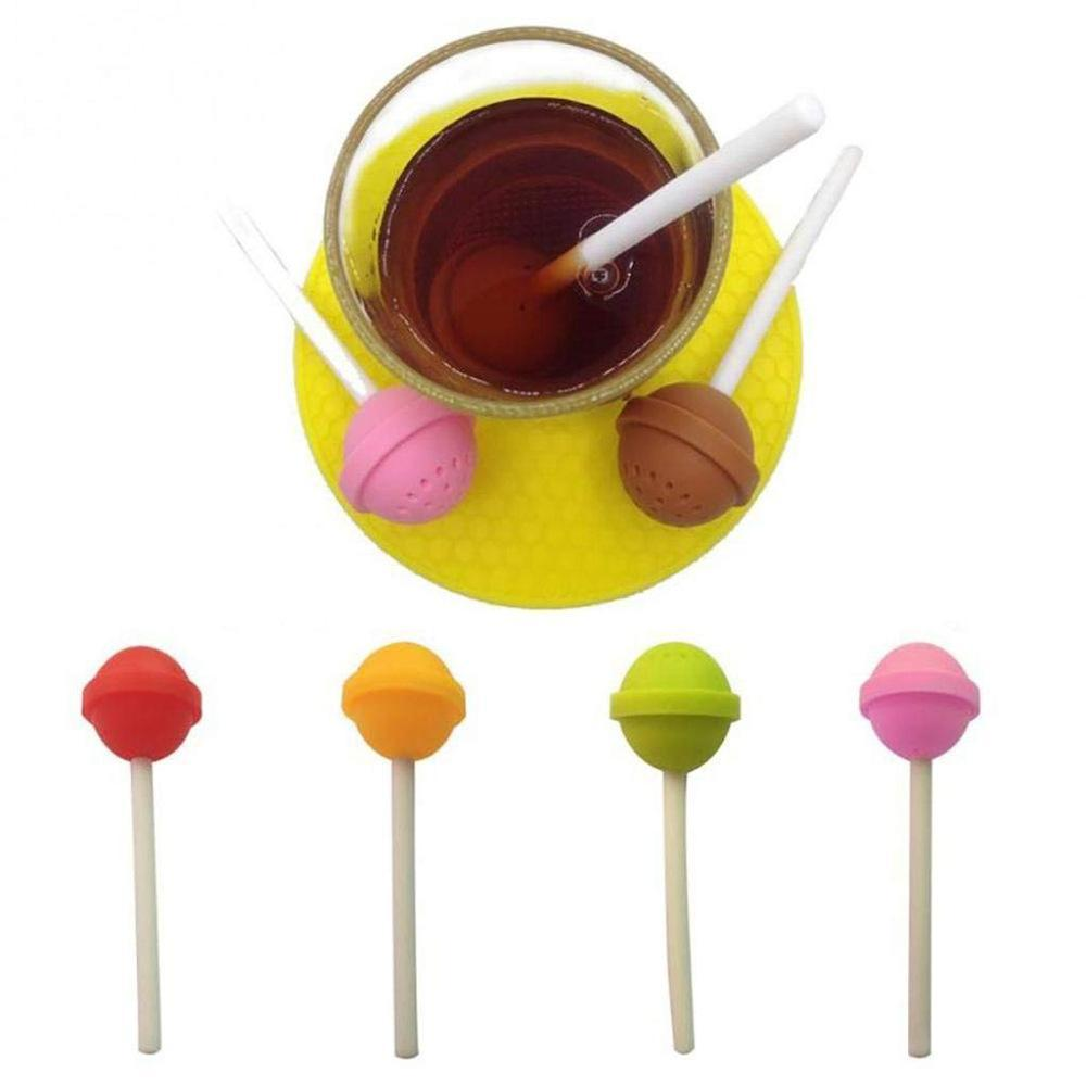 2PCS Cute Lollipop Shape Tea Infuser Creative Silicone Puer Tea Strainer Spice Tea Filter