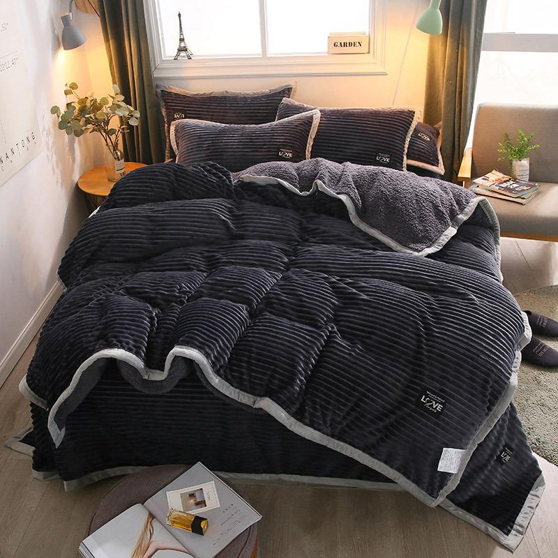 4Pcs AB-Sided Thicken Magic Fleece Cashmere Bedding Set