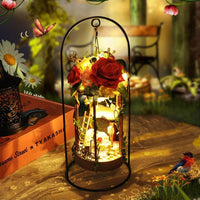 DIY Kits DollHouse Hanging Flower Basket Decoration Miniature Doll House With Light
