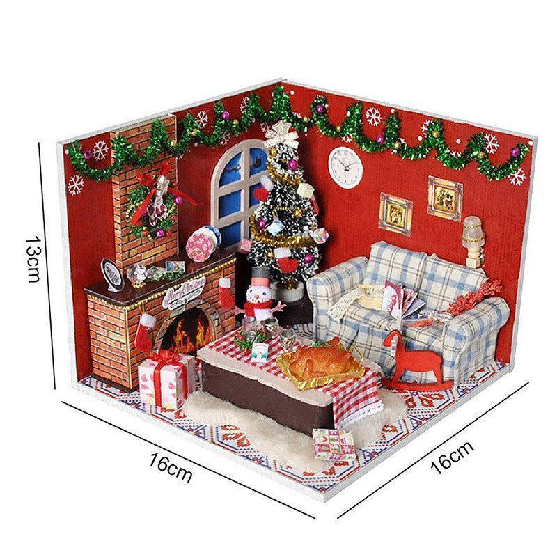 Wooden Dollhouse Furniture Kits LED Light Miniature Christmas Room DIY Dolls House