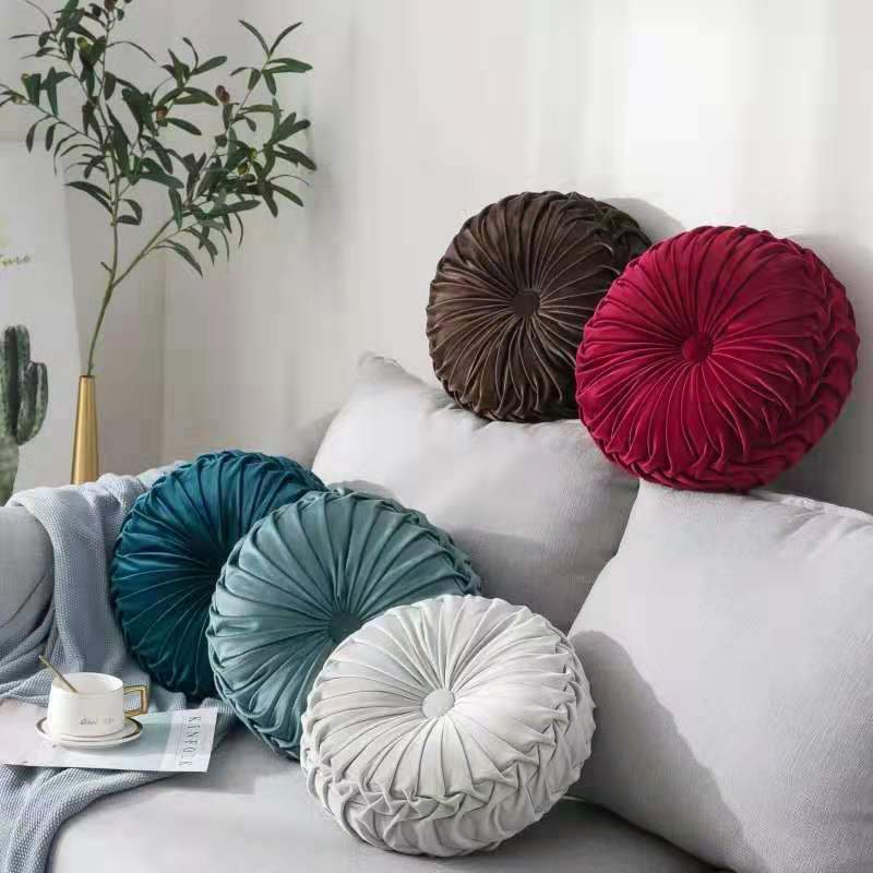 Velvet Pleated Round Pumpkin Throw Pillow Couch Cushion Floor Pillow Decorative For Home Chair Bed Car Pillow