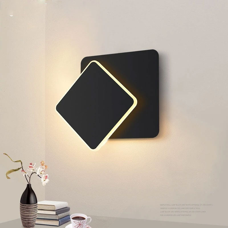 square LED Wall Lamp for Bedroom living room white black sconce wall lights 360 degrees Rotatable Metal 5W/16W fixtures