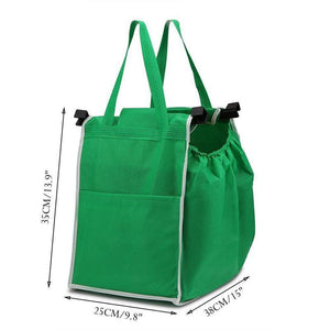 Foldable Tote Bag Grocery Grab Bag Fabric Shopping Carrier Clip-To-Cart Ecofriendly