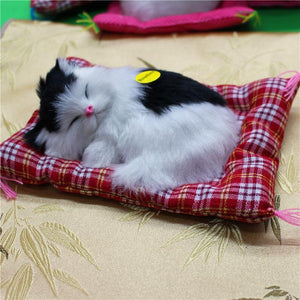 Lovely Simulation Animal Doll Plush Sleeping Cats with Sound