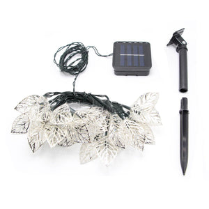 Outdoor 20LED Solar Iron Leaf Lamp String Christmas Landscape Ccourtyard Decorative Lights