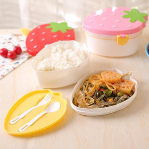 2 Layers Cute Lunch Box Portable Kids Children Crisper Dinnerware Sets