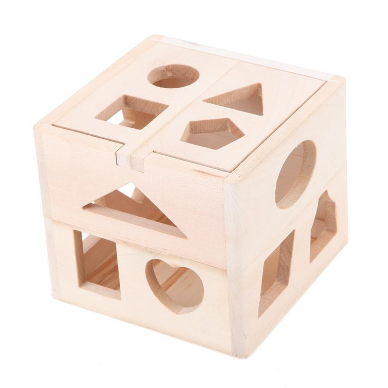13 Hole Cube for Shape Sorter Cognitive and Matching Wooden Toys