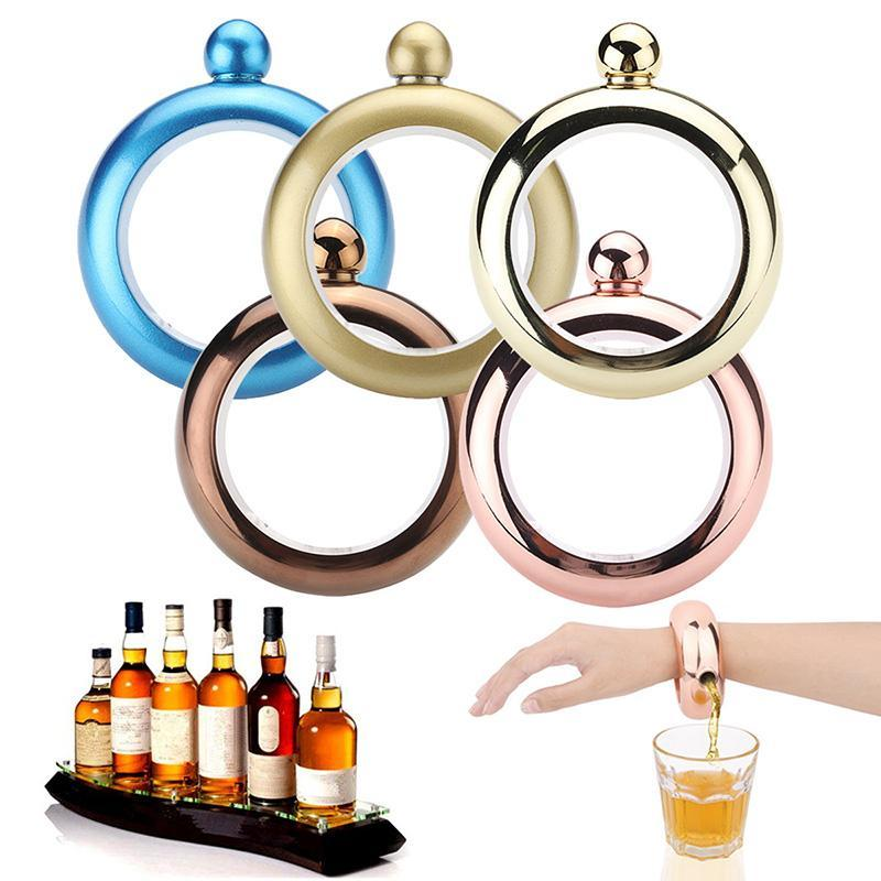 3.5Oz Bangle Bracelet Hip Flask Stainless Steel Alcohol Pocket Flagon Whiskey Drinkware