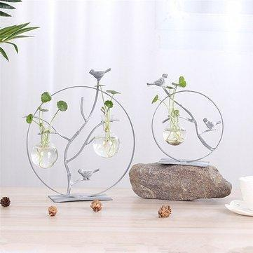 Iron Bird Flower Vase Creative Hydroponic Container Glass Home Decoration