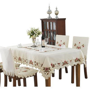 Embroidered Tablecloth Home Table Decor Lace Rose Cutwork Restaurant Table Cover