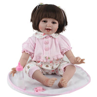 Handmade Lifelike Silicone Newborn Baby Girls Cotton Body Reborn Dolls