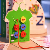 Children Wooden Board Toys Toddler Sew on Buttons Early Education Teaching Toys