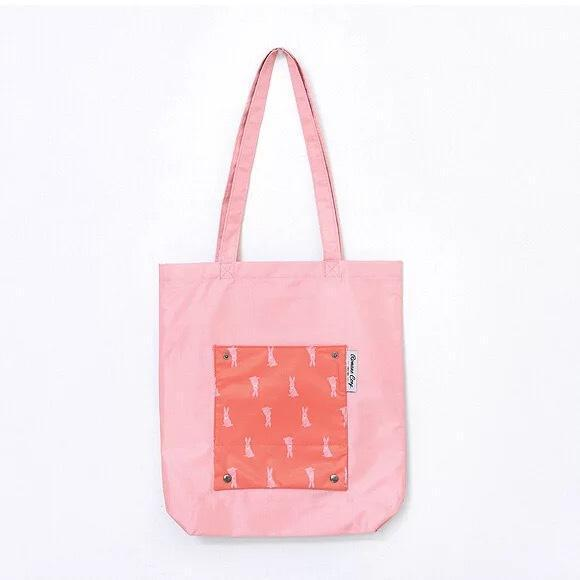 Portable Foldable Shopping Bag Storage Bag Shoulder Bag Lovely Cartoon Candy Color Bag
