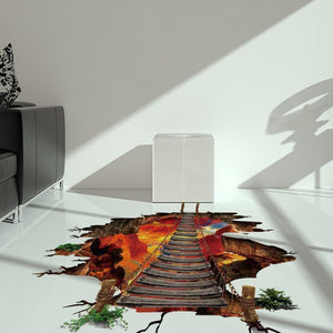 【Free Shippingã€?D Wall Stickers Volcano Rail Removable Mural Decals Bridge