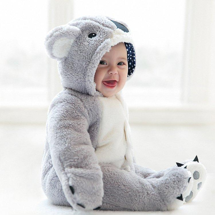 Cute Koala Shape Thick Warm Cotton Baby Romper Jumpsuit Outerwear For 0-36M