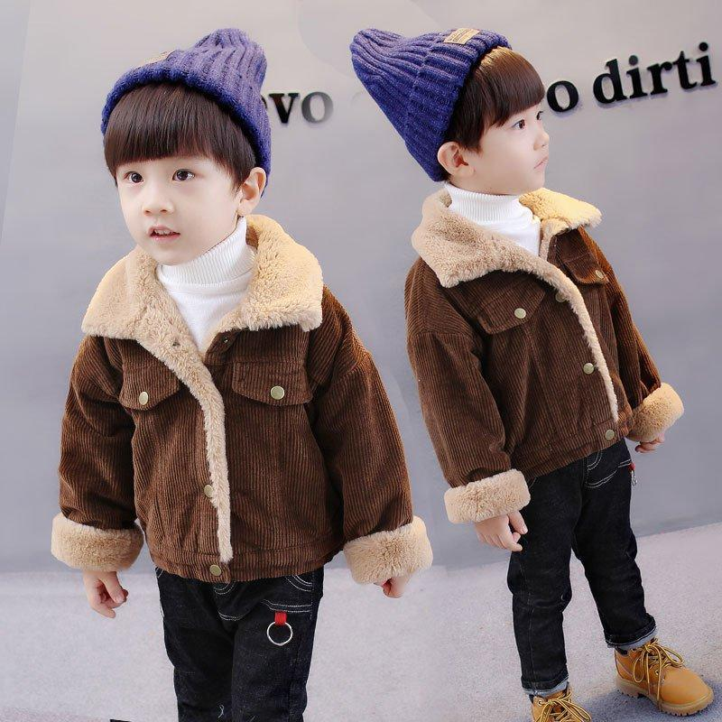Corduroy Fleece Warm Kids Baby Girls Boys Winter Coat Jacket For 6-36 Months