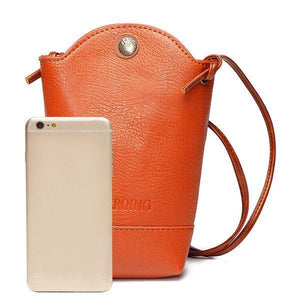 Women PU Crossbody Bag Little Phone Purse Bucket Bag