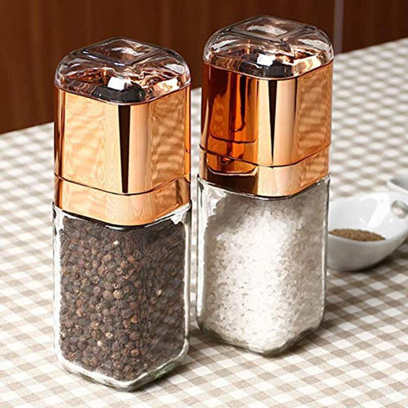 Salt And Pepper Mill - Portable Manual Salt And Pepper Mill Glass Bottle Spice Seasoning Grinder