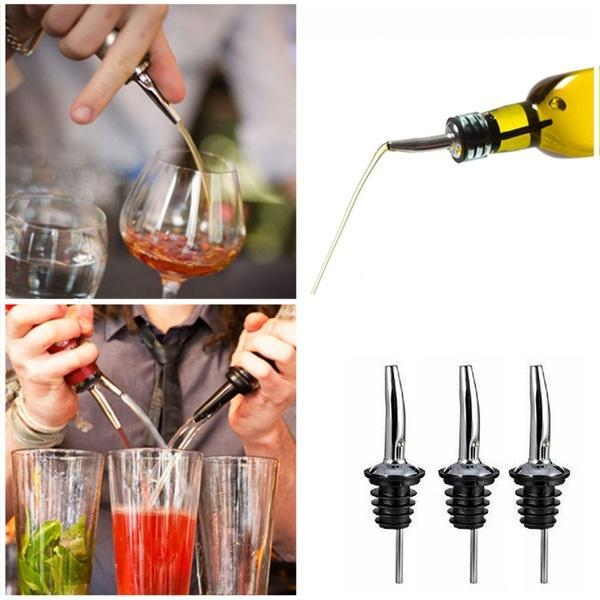 3Pcs Stainless Steel Liquor Spirit Pourer Flow Wine Bottle Pour Spout Stoppers