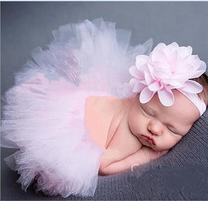 Newborn Baby Girls Tutu Skirt Headband Set Chiffon Flower Hairband Infant Toddler Lace Band Photography Prop