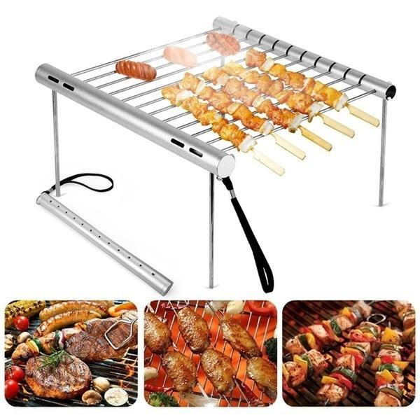 Portable Detachable Stainless Steel Outdoor Camping BBQ Barbecue Grill Accessories Set