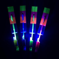 10Pcs Amazing Led Light Arrow Rocket Helicopter Flying Toy Party Fun Gift Elastic