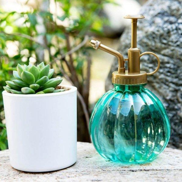 250ml Retro Pumpkin Shape Glass Watering Pot Plant Flower Bottle Garden Hand Pressure Sprayer