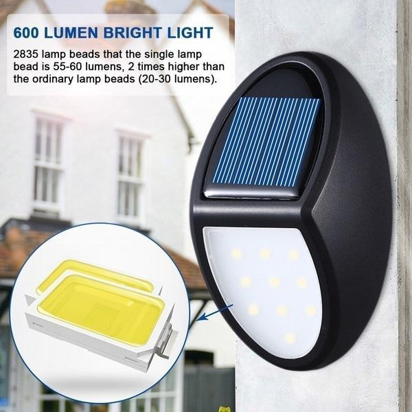 10 LED Automatically Turns On Solar Power Wall Light Garden Lighting Safety Light Outdoor Waterproof Light