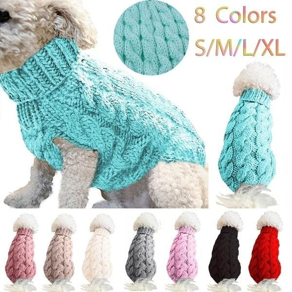 Turtleneck Dog Sweater - Classic Cable Knit Winter Coat Keep Warm for Doggies Puppy