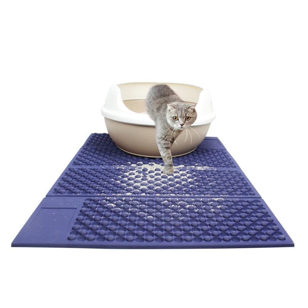 Foldable Cat Litter Mat, Large EVA Pet Food Feeding Pad Debris Catcher Door Mat