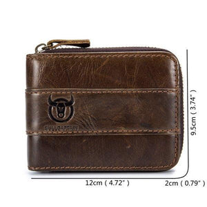 【Free Shipping】Vintage Genuine Leather 11 Card Slots  Trifold Wallet