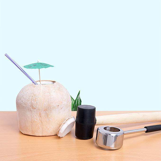 Coconut Opener Tool Set for Young Coconuts,Super Safe & Easy to Use Coconut Opening Tool