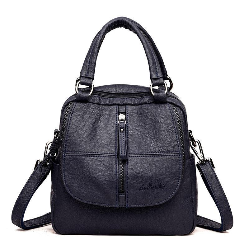 Handbag Soft PU Leather Bag Double Layer Backpack