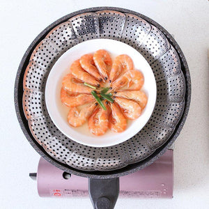 Stainless Mesh  Folding Dish Vegetable Steamer Basket Cooker Kitchen  Strainer
