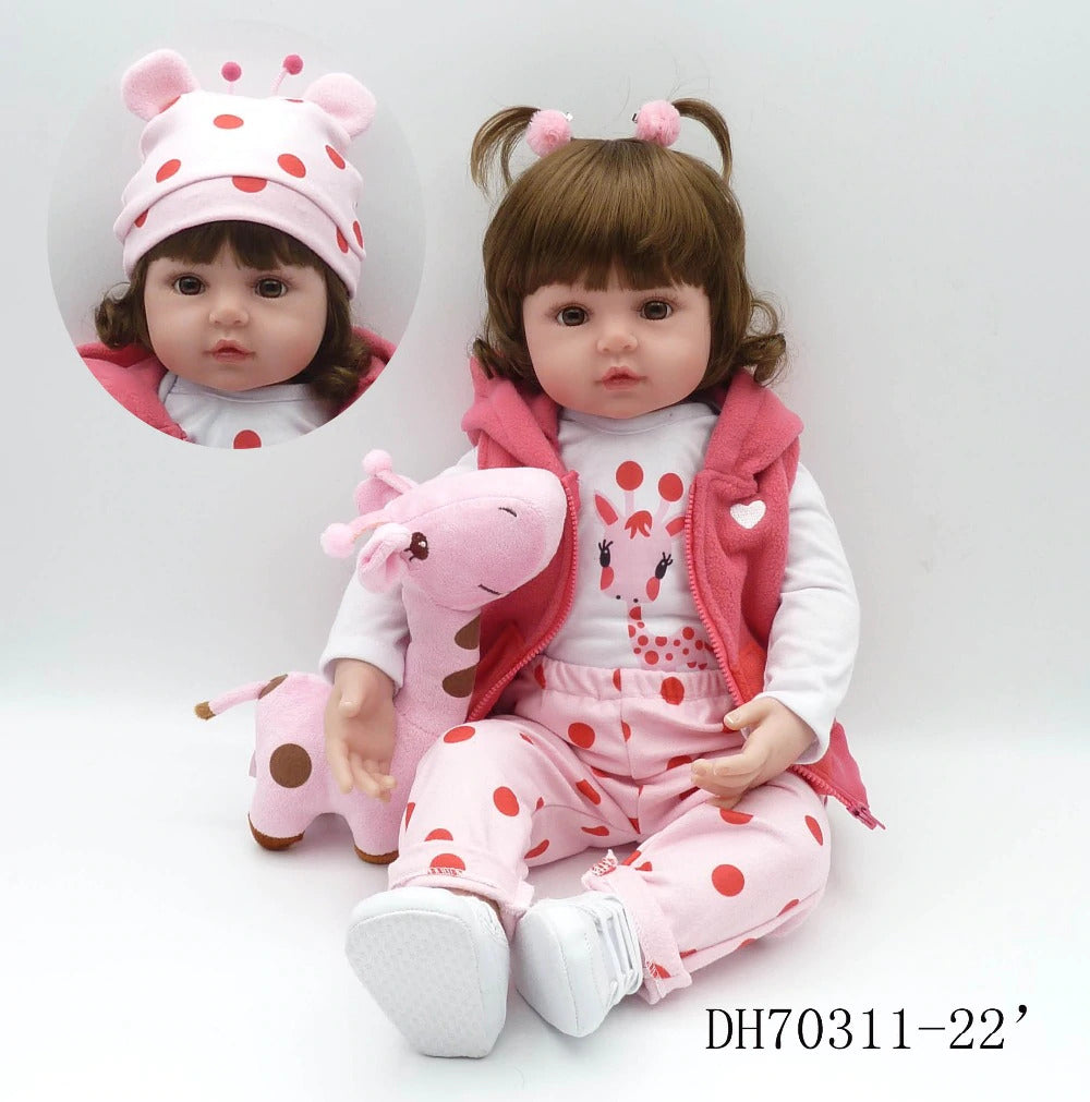 soft silicone reborn toddler baby dolls com corpo de silicone menina Christmas surprice gifts doll