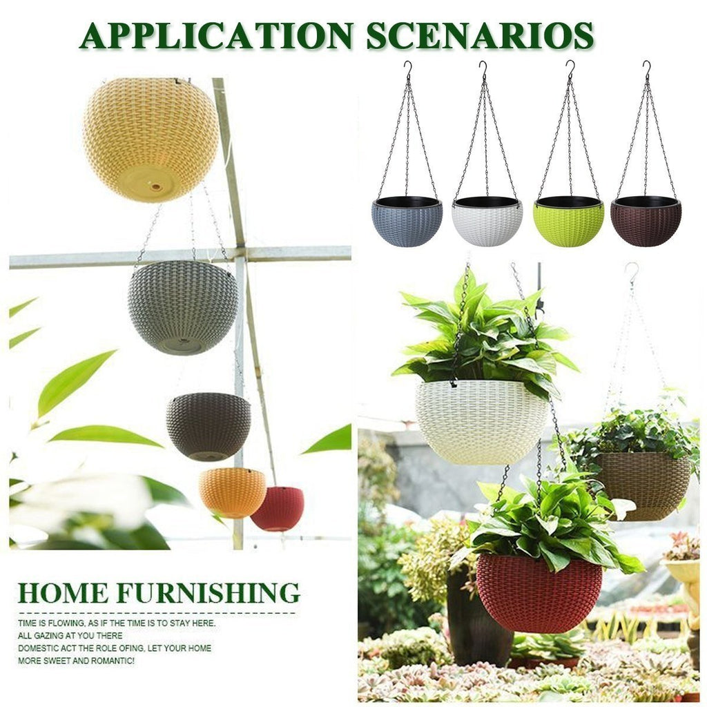 Garden Plant Plastic Basket Hanging Rattan Waven Flower Chain Basket Pot Plant Holder Home Balcony Decor