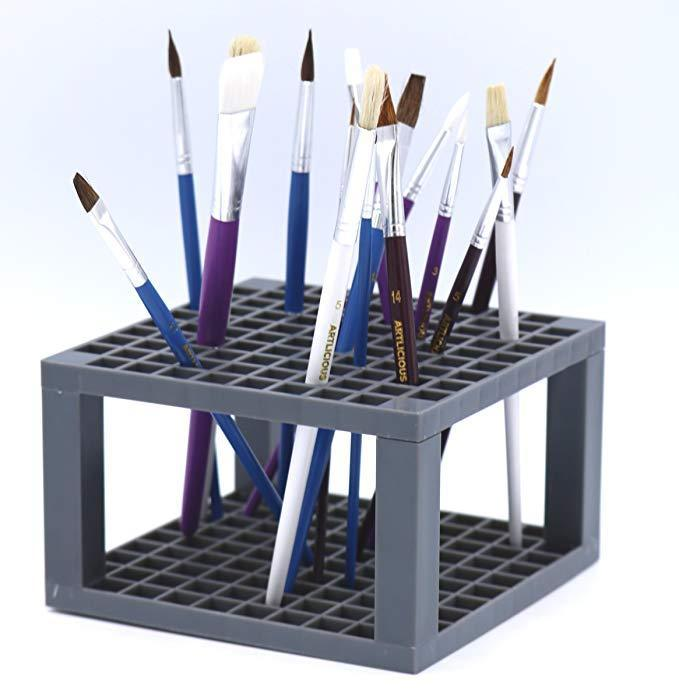 96 Hole Plastic Pencil & Brush Holder - Desk Stand Organizer Holder for Pens, Paint Brushes, Colored Pencils, Markers